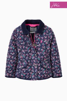 Joules Navy Ditsy Print Quilted Coat