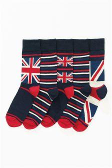 Navy/Burgundy Union Jack Socks Five Pack