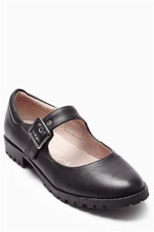 Black Chunky Buckle Shoes (Older Girls)