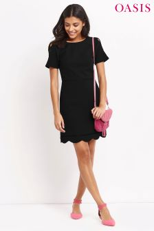 Oasis Black Scallop Dress