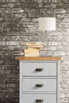 Buy grey wallpaper diy from the next uk online shop for Grey brick wallpaper bedroom