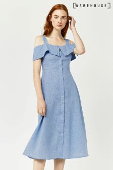 Warehouse Blue Chambray Button Through Midi Dress