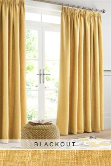 Bouclé Pencil Pleat Blackout Curtains