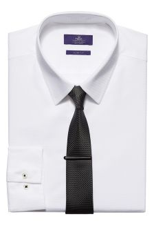 Shirt In Slim Fit, Tie And Tie Clip Set