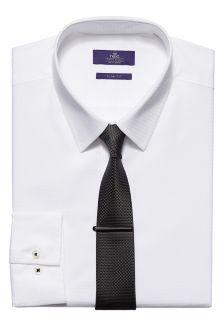 Shirt In Slim Fit, Tie And Tie Clip Set