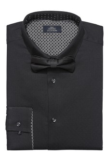 Textured Slim Fit Shirt And Bow Tie Set