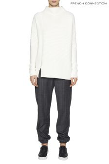French Connection White Sunday Mozart High Neck Jumper