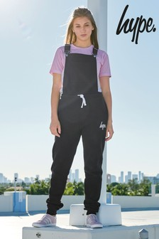Hype Black Jersey Dungaree