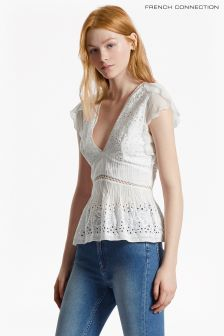 French Connection White Hesse Broderie V-Neck Top