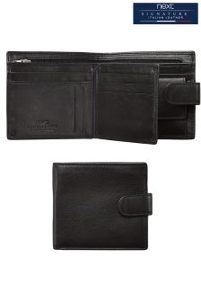 Black Signature Italian Leather Extra Capacity Popper Wallet