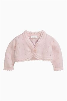 Pink Pointelle Cardigan (0-18mths)