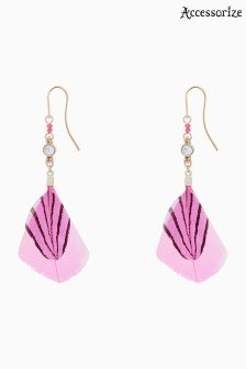 Accessorize Pink Sparkle Feather Drop Earrings