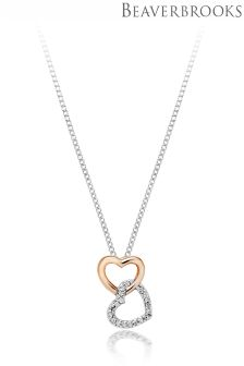 Beaverbrooks 9ct White and Rose Gold Diamond Heart Pendant