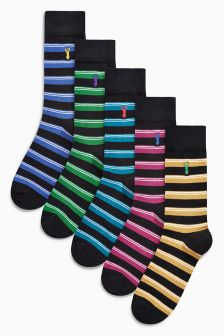 Stripe Stag Embroidered Socks Five Pack