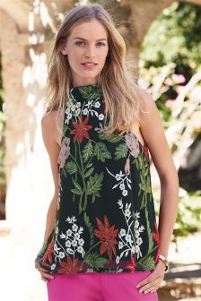 Sleeveless High Neck Embroidered Top