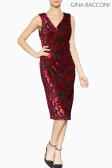 Gina Bacconi Red Tanya Floral Velvet Dress