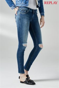 Replay® Mid Wash Ripped Luz Core Skinny Jean