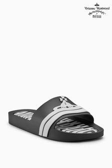 Vivienne Westwood Black Logo Beach Slider