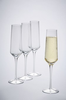 Set Of 4 Optic Rib Champagne Flutes
