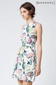 Warehouse Multi Decoupage Floral Dress