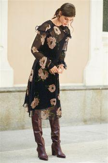 Floral Asymmetric Ruffle Dress