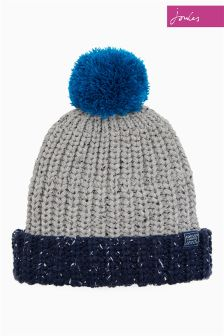 Joules Grey Flecked Bobble Hat