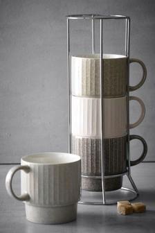 Set Of 4 Reactive Glaze Stacking Mugs