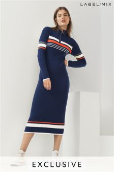 Mix/J.Won Stripe Zip Neck Knit Dress