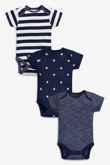 Stripe And Star Short Sleeve Bodysuits Three Pack (0mths-2yrs)