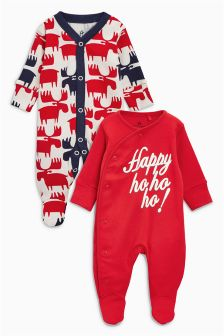 Christmas Slogan Sleepsuits Two Pack (0mths-2yrs)