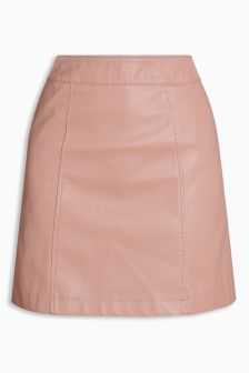 Leather Look A-Line Skirt