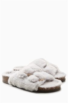 Faux Fur Buckle Slider Slippers