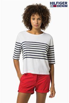 Tommy Hilfiger White/Navy Stripe Top