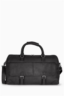Black Signature Leather Oily Holdall