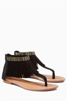 Black Suede Fringe Sandals