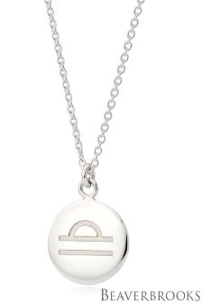 Beaverbrooks Silver Libra Disc Necklace