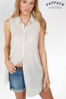 Fat Face Ivory Mae Stripe Longline Shirt