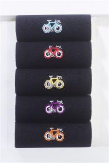 Bike Embroidered Socks Five Pack