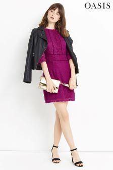 Oasis Purple Kick Sleeve Lace Dress
