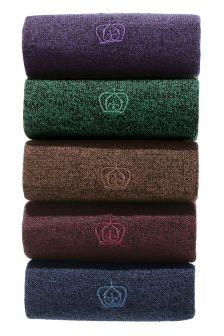 Multi Deep Twisted Yarn Socks Five Pack