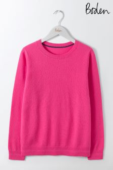 Boden Party Pink Cashmere Crew Neck Jumper