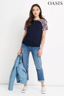 Oasis Navy Patched Chintz Floral Tee