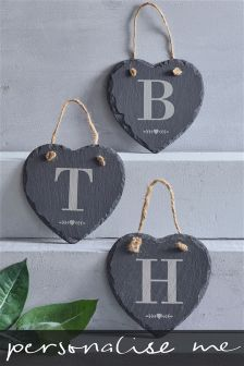 Real Slate Initial Heart Hanging Sign Gift By Loveabode