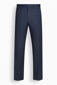 Machine Washable Wool Plain Front Trousers