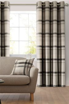 Natural Oversized Check Eyelet Curtains