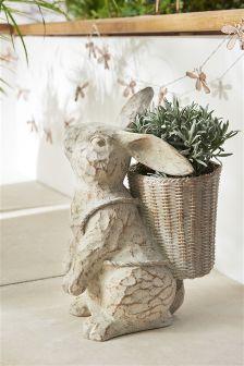 Rabbit With Basket Planter