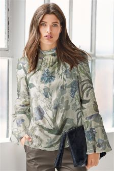 Floral Tie Cuff Blouse