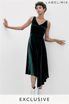 Mix/Osman Velvet Asymmetric Drape Dress