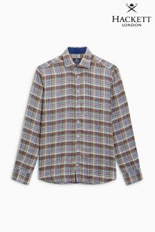 Hackett Blue Linen Check Shirt