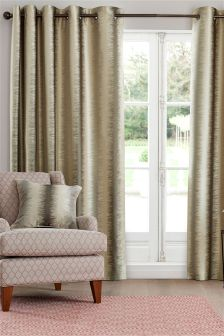 Luxe Metallic Ikat Stripe Eyelet Curtains